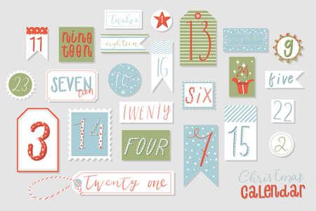 Kerst adventskalender, schattige hand getrokken stijl. Twenty four christmas countdown afdrukbare tags collectie. Aftellen tot kerstpakket. Advent kalender.