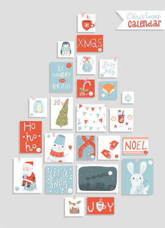 Christmas advent calendar, cute hand drawn style. Twenty four christmas countdown printable tags collection. Count down till christmas kit. Advent calendar. Vector illustration