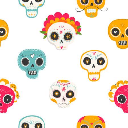 죽음의 날. Dia de los muertos. 설탕 두개골과 흰색 배경에 꽃과 원활한 벡터 패턴