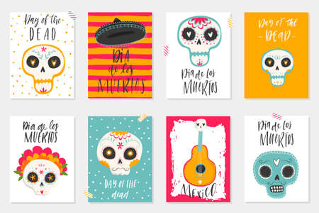 Vector hand drawn illustration of Mexican holiday Day of the Dead. The postcards with traditional sugar skulls, marigold flowers and lettering Dia de los Muertos