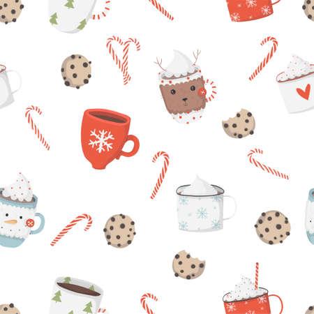 Christmas elements pattern. Vector Illustration