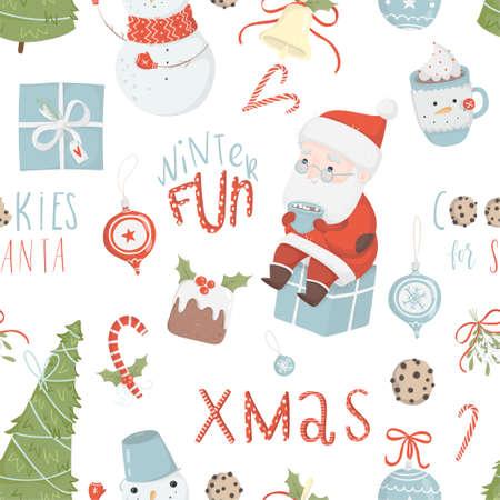 Kerst elementen patroon. Stock Illustratie