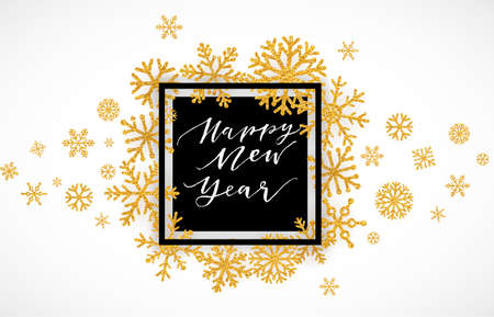 Elegant Merry Christmas lettering design with shining gold glittering snowflakes in white frame on white background. Vector illustration EPS 10 Illustration