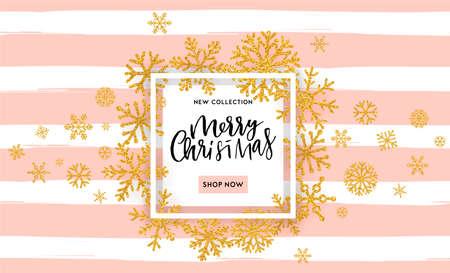 白い背景に白いフレームに輝く金輝く雪片とエレガントなメリークリスマスレタリングデザイン。ベクトルイラスト EPS 10