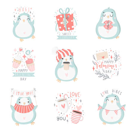 Hand drawn illustrations of  penguins and other cute elements in soft pastel pink and blue colors for Valentines day set; Love collection illustration.