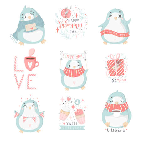 Vector hand drawn illustrations for Valentines day set. The illustrations with penguins and other cute elements in soft pastel pink and blue colors. Love collection Ilustração
