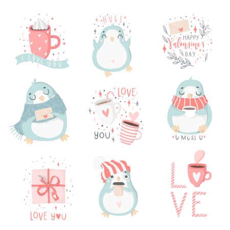 Entregue ilustrações tiradas dos pinguins e de outros elementos bonitos em cores brandamente cor-de-rosa e azuis pasteis para o grupo do dia de Valentim; Amo a ilustração da coleção. Foto de archivo - 91502444