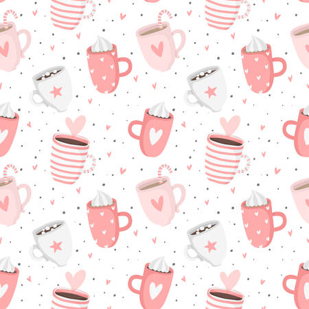 Hand drawn pink Valentines Day romantic seamless pattern with cute cups, mugs, hearts, coffee, cocoa and more. Vector illustration background in pink and white colors
