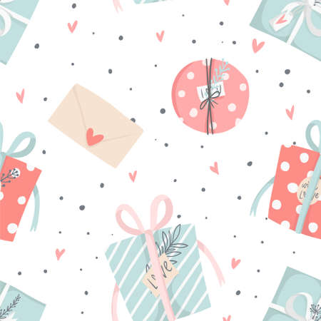 Hand drawn Valentines Day romantic seamless pattern with cute gift box, presents, hearts, love and more. Vector illustration background in pink blue, red and white colors