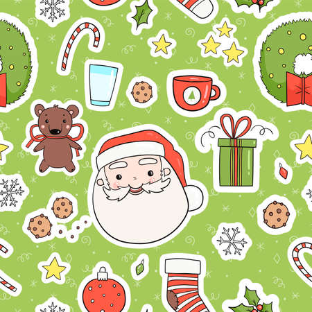 80s Christmas party seamless pattern. Cute, cozy and bright winter holiday theme wrapping paper tile. Merry christmas background in traditional retro red green yellow colors. Vector eps 10 Vectores