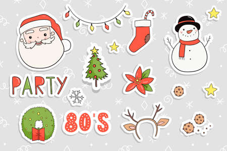 80s Christmas party sticker set. Cute, cozy and bright winter holiday theme stylish pins, patch template. Merry christmas illustrations in traditional retro red green yellow colors. Vector eps 10