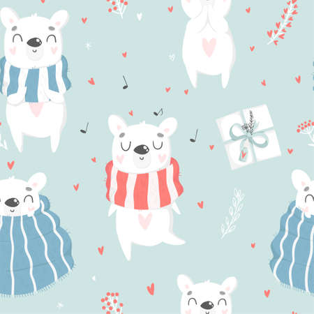 Cute White Polar bear hand drawn illustration seamless pattern. Wrapping paper, fabric, wallpaper, background  design. Valentines day romantic love or cute kids room decor element Vectores