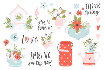 Illustrations and lettering spring set. Spring hand drawn elements- calligraphy, flowers, cups, wreaths, etc. Perfect for web, card, poster, cover, tag, invitation, sticker kit. Vector collection. Foto de archivo - 95373312