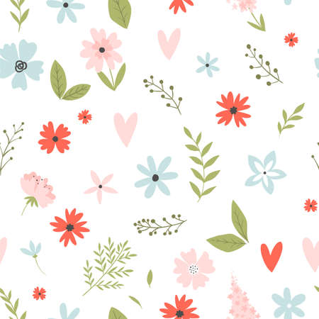 Vector floral pattern in doodle style with flowers and leaves on white background. Gentle, spring floral background. Ilustração Vetorial
