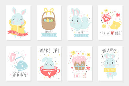 Set of Easter cards with cute cartoon characters and type design . Easter greetings with bunny, cups, eggs and flowers. Vector illustration.