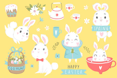 Happy Easter set with cute elements for greeting or invitation card. Vector illustration Illustration