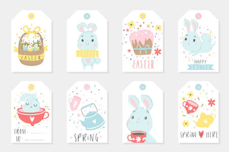 Set of Easter gift tags and labels with cute cartoon characters and type design . Easter greetings with cute cups, eggs and flowers. Vector illustration.