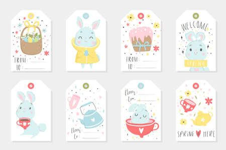 Set of Easter gift tags and labels with cute cartoon characters and type design . Easter greetings with cups, eggs and flowers. Vector illustration.