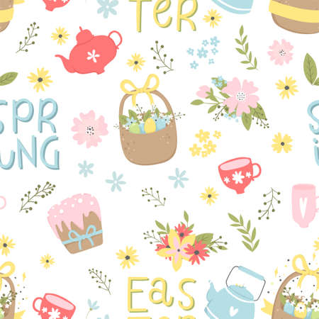 Cute Easter seamless pattern with eggs in basket, lettering and flowers. Endless Spring background, texture, digital paper. Vector illustration