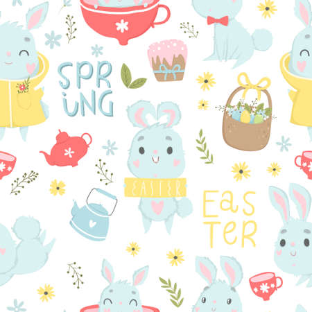 Cute Easter seamless pattern with  eggs in basket, lettering and flowers. Endless Spring background, texture, digital paper. Vector illustration Illustration