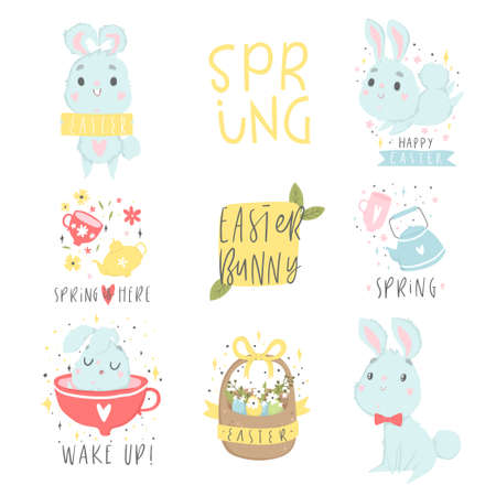 Set of easter and spring icon with cute illustrations and lettering. Cards, tags, posters, labels templates design set. Vector collection.