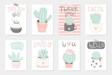 Set of 8 cute ready-to-use gift romantic postcards with succulents. Vector printable collection of Valentines Day card, invitation, poster in gentle colors template design Illustration