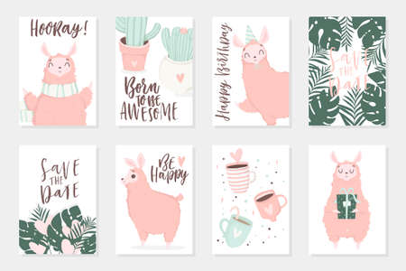 Cute pink lamas hand drawn illustrations, could use as card, tag, poster, label template design. Valentines day, cute baby shower or birthday room decor element or invitation