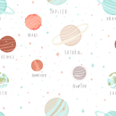 Seamless pattern with stars, constellations, planets and hand drawn elements. Childish universe texture. Great for fabric, textile Vector Illustration.