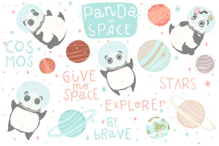 Isolated elements with cute pandas astronauts in helmets, lettering and planets. Creative nursery element. Perfect for kids design, fabric, wrapping, wallpaper, textile, apparel.
