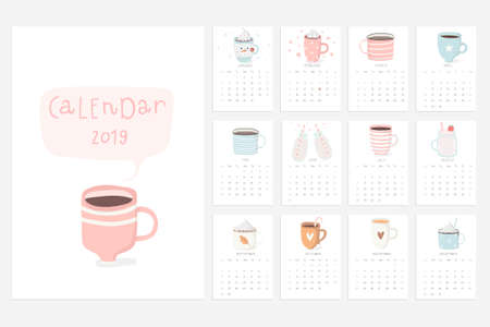 Calendar 2019. Stock vector. Fun and cute calendar with cute hand drawn cups. Pink blue white. Illustration