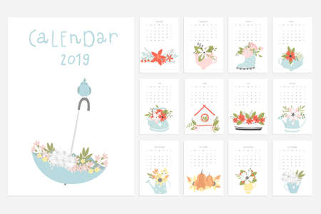 Calendar 2019. Stock vector. Fun and cute calendar with hand drawn flowers, cups, pumpkin and etc.  イラスト・ベクター素材