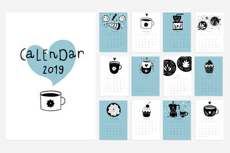Calendar 2019. Stock vector. Fun and cute calendar with hand drawn cups, desserts and etc. Pink blue grey white.