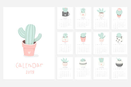 Calendar 2019. Stock vector. Fun and cute calendar with hand drawn succulents and cactus plants. Pink mint grey white.