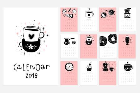 Calendario 2019. Stock vector. Calendario divertido y lindo con tazas dibujadas a mano, postres, etc. Rosa azul gris blanco Foto de archivo - 96384623