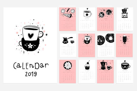 Calendar 2019. Stock vector. Fun and cute calendar with hand drawn cups, desserts and etc. Pink blue grey white
