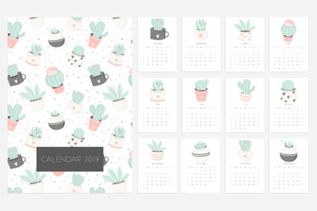 Calendar 2019. Stock vector. Fun and cute calendar with hand drawn succulents and cactus plants. Pink mint grey white Illustration