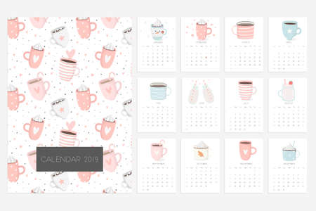 Calendar 2019. Stock vector. Fun and cute calendar with cute hand drawn cups. Pink blue white Illustration