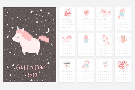 Calendar 2019. Stock vector. Fun and cute calendar with hand drawn unicorns, cakes and other cute stuff. Pink blue grey white  イラスト・ベクター素材