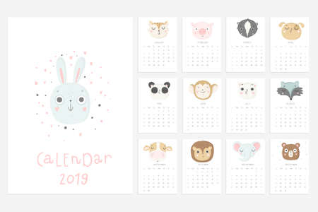 Calendar 2019. Stock vector. Fun and cute calendar with hand drawn animals. Elephant panda cat and others Illustration