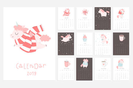 Calendar 2019. Stock vector. Fun and cute calendar with hand drawn unicorns, cakes and other cute stuff. Pink blue grey white Illustration