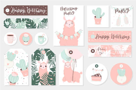 Set of cute ready-to-use gift tags, cards and sticers with lamas. Gifts, hearts, cups, cacti and magic. Printable collection of hand drawn Birthday or Valentines Day label in gentle colors. Vector badge design