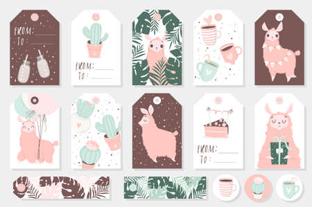 Set of cute ready-to-use gift tags, cards and sticers with lamas. Gifts, hearts, cups, cacti and magic. Printable collection of hand drawn Birthday or Valentine's Day label in gentle colors. Vector badge design