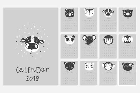 Calendar 2019. Stock vector. Fun and cute calendar with hand drawn animals in black and white colors. Scandinavian style. Elephant panda cat and others
