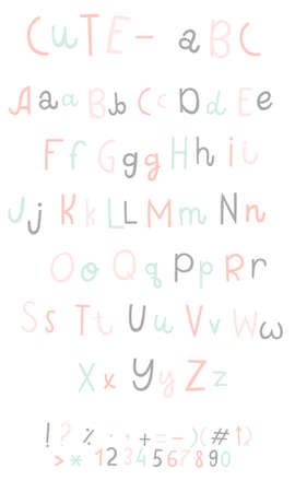 Vector cartoon funny difference english Alphabets. Cute bright vector English alphabet, funny hand drawn typeface, numbers and sighs, ABC, Lowercase and uppercase letters