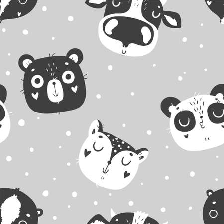Cute baby animals seamless pattern, nursery isolated illustration for children clothing. Hand drawn monochrome image. Perfect for phone cases design, nursery posters, postcards
