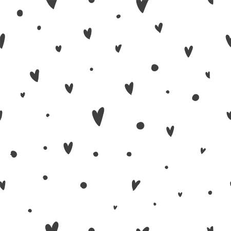 Vector seamless pattern with hearts on a white background. Suitable for web backgrounds, textiles and wrapping paper. Imagens - 96704209