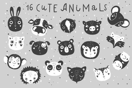 Cute animals, isolated illustration and lettering for children. Vector image. Perfect for nursery posters, patterns, party invitation, cards, tags, etc.