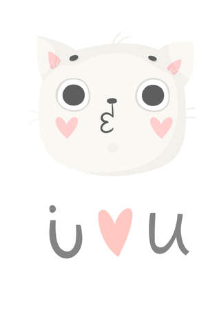 Cute card with cat. Pink, blue greeting card with elephant, pattern and text. Vector illustration.