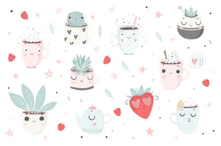 Cute plants, cups and strawberry isolated illustration for children. Vector image. Perfect for nursery posters, patterns, party invitation, cards, tags etc Foto de archivo - 97100041
