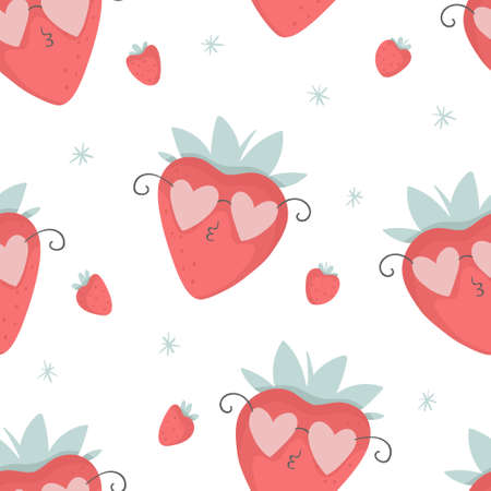 Cute strawberries in pink glasses seamless pattern, nursery isolated illustration for children clothing. Hand drawn image perfect for phone cases design, nursery posters, postcards Illustration